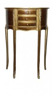 Casa Padrino Barock Kommode mit 3 Schubladen Gold/ Braun H 69 cm, B 40 cm - Antik Stil - Nachttisch Konsole