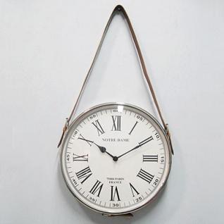 Casa Padrino Designer Luxus Wanduhr 30 cm mit Lederhalterung Nickel Plated