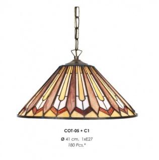 Handgefertigte Tiffany Hängeleuchte von Casa-padrino Durchmesser 41 cm, 1-Flammig - Leuchte Lampe - wunderschöne Pendelleuchte