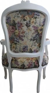 Casa Padrino Barock Salon Stuhl Blumen Muster / Creme / Gold - Antik Design Möbel - Limited Edition - Vorschau 2