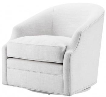 Casa Padrino Luxus Drehsessel Weiß 72 x 82 x H. 74 cm - Wohnzimmer Sessel - Luxus Möbel