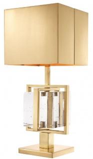 Casa Padrino Luxus Tischleuchte Messingfarben 28, 5 x 28, 5 x H. 65, 5 cm - Messing Tischlampe mit Glaswürfel - Luxus Kollektion