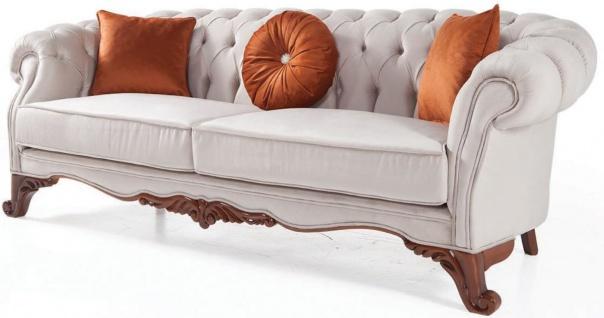 Casa Padrino Luxus Barock Wohnzimmer Sofa mit Kissen Hellgrau / Braun 240 x 102 x H. 80 cm - Barock Möbel