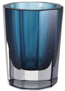 Casa Padrino Luxus Deko Glas Vase Blau Ø 11 x H. 15 cm - Elegante handgefertigte 8-eckige Blumenvase - Deko Accessoires