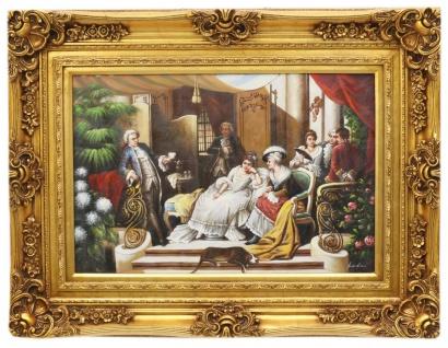 Casa Padrino Barock Öl Gemälde Familientreffen II Gold Prunk Rahmen 130 x H. 100 cm - Möbel im Barockstil