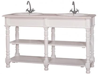 Casa Padrino Landhausstil Doppel Waschbeckenschrank Weiß / Hellgrau 150 x 54 x H. 90 cm - Massivholz Waschtisch - Badezimmermöbel im Landhausstil - Vorschau 3