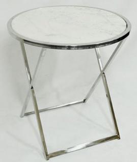 Casa Padrino Luxus Beistelltisch Silber / Weiß Ø 75 x H. 76 cm - Runder Edelstahl Tisch mit Marmorplatte