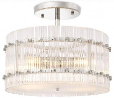 Casa Padrino Luxus Deckenleuchte Silber / Weiß Ø 45 x H. 22 cm - Runde Glas Deckenlampe - Moderne Deckenleuchten