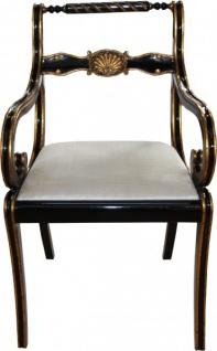 Casa Padrino Luxus Barock Stuhl mit Armlehnen Schwarz / Gold / Creme - Luxus Schreibtisch Stuhl - Vorschau 2