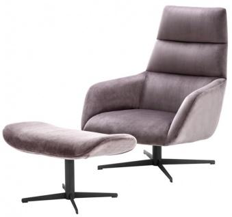 Casa Padrino Luxus Wohnzimmer Sessel & Fußhocker mit taupefarbenem Samtstoff - Limited Edition