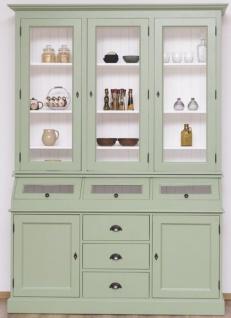 Casa Padrino Landhausstil Küchenschrank Hellgrün / Weiß 164 x 50 x H. 226 cm - 2-teiliger Massivholz Esszimmer Schrank - Landhausstil Esszimmer Möbel