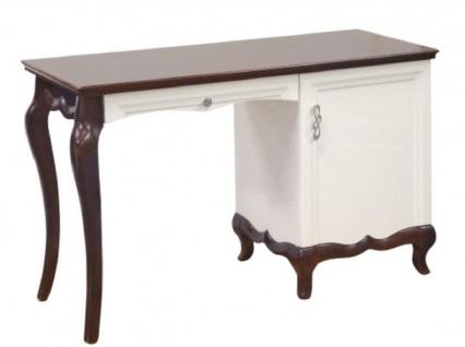 Casa Padrino Luxus Art Deco Schreibtisch mit Tür und Schublade Weiß / Dunkelbraun 136, 3 x 48 x H. 78, 2 cm - Büromöbel