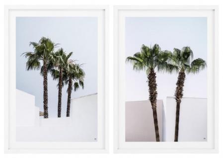 Casa Padrino Luxus Bilder / Kunstdruck Set Palmen Mehrfarbig / Weiß 75 x H. 104, 5 cm - Wanddekoration