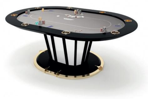Casa Padrino Luxus Pokertisch Grau / Schwarz / Gold 219 x 150 x H. 77 cm - Ovaler Massivholz Pokertisch mit Getränkehalter - Casino Tisch - Hotel Kollektion - Luxus Qualität - Vorschau 1