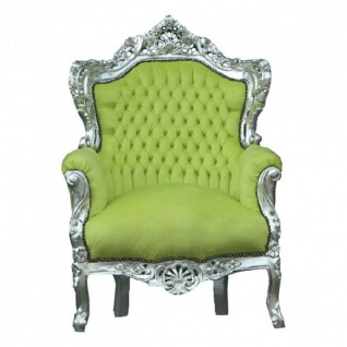 Casa Padrino Barock Sessel King Jadegrün / Silber 85 x 85 x H. 120 cm - Luxus Antik Stil Möbel