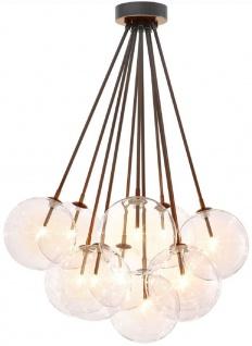 Casa Padrino Luxus Halogen Deckenleuchte Bronzefarben Ø 66 x H. 94, 5 cm - Dimmbare Deckenlampe mit runden Glas Lampenschirmen - Luxus Qualität