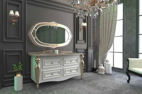Casa Padrino Luxus Barock Badezimmer Set Weiß / Grau / Gold - 1 Waschtisch mit 4 Schubladen und 2 Waschbecken und 1 Wandspiegel - Prunkvolle Badezimmermöbel - Vorschau 2