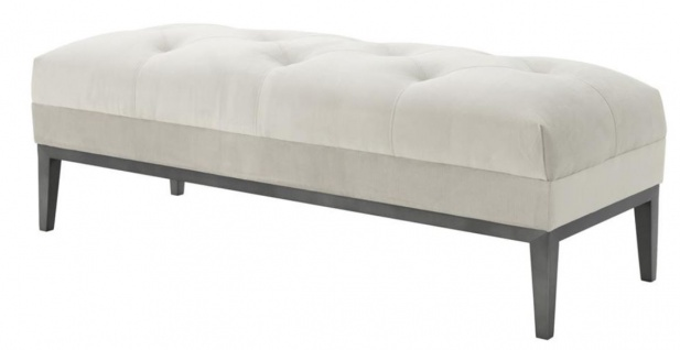 Casa Padrino Designer Sitzbank Hellgrau 130 x 50 x H. 46 cm - Luxus Kollektion