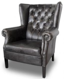 Casa Padrino Chesterfield Buffalo Echtleder Sessel Schwarz aus Massivholz - Luxus Wohnzimmermöbel - Vintage