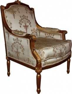Casa Padrino Barock Lounge Thron Sessel Empire Taupe Muster / Mahagoni Braun / Gold - Ohren Sessel - Limited Edition