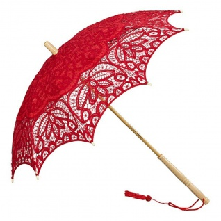 MySchirm Designer Dekoschirm Hochzeitsschirm mit roter Baumwollspitze - romantischer Dekoschirm