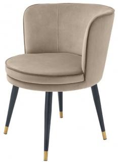 Casa Padrino Luxus Samt Esszimmerstuhl mit Armlehnen Greige / Schwarz / Messingfarben 62 x 62 x H. 76 cm - Drehbarer Küchenstuhl - Drehstuhl - Vintage Retro Stuhl - Esszimmermöbel