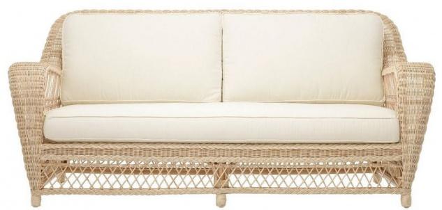 Casa Padrino Luxus Wohnzimmer Sofa mit Kissen Naturfarben / Cremefarben 202 x 99 x H. 97 cm - Gepolsterte Couch mit handgewebtem Rattangeflecht
