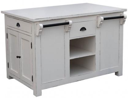 Casa Padrino Landhausstil Kücheninsel Antik Weiß 135 x 85 x H. 90 cm - Shabby Chic Küchenmöbel