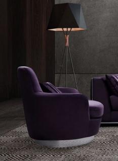 Casa Padrino Luxus Drehsessel Lila / Silber 83 x 86 x H. 81 cm - Wohnzimmer Sessel mit dekorativem Kissen - Luxus Wohnzimmer Möbel