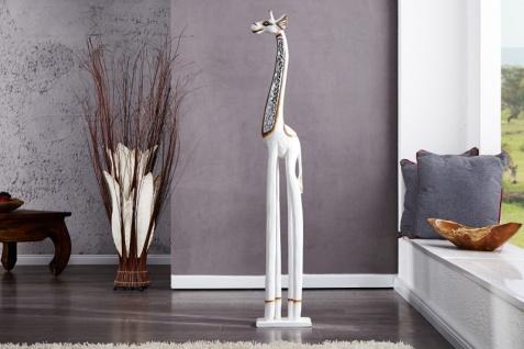 Designer Giraffe Weiß Höhe 120 cm, Breite 10 cm edle Skulptur aus Holz und Spiegelplättchen- Edel & Prunkvoll