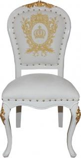 Pompöös by Casa Padrino Luxus Barock Esszimmerstühle mit Krone Weiß / Gold - Pompööse Barock Stühle designed by Harald Glööckler - 6 Esszimmerstühle - Barock Esszimmermöbel - Vorschau 2
