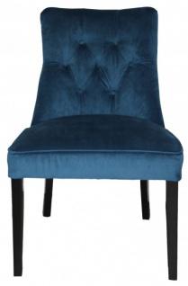 Casa Padrino Esszimmer Stuhl Blau / Schwarz ohne Armlehnen - Barock Möbel