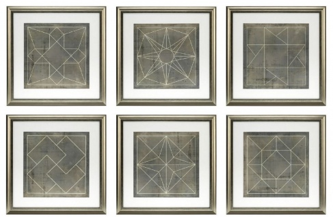 Casa Padrino Blaupausen Set geometrische Formen Grau / Gold 57 x H. 57 cm - Luxus Bilder mit Holzrahmen - Wanddeko