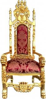 Casa Padrino Barock Thron Sessel Bordeaux Muster / Gold Königssessel - Hochzeitssessel - Riesensessel