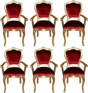 Casa Padrino Luxus Barock Esszimmer Set Bordeauxrot / Gold 60 x 47 x H. 99 cm - 6 handgefertigte Esszimmerstühle mit Armlehnen - Barock Esszimmermöbel
