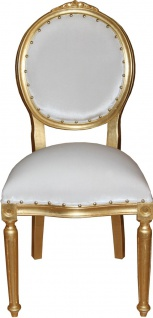 Casa Padrino Barock Medaillon Luxus Esszimmer Stuhl ohne Armlehnen in Weiss / Gold - Limited Edition