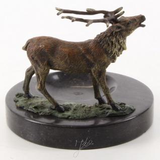 Casa Padrino Aschenbecher mit Bronzefigur Hirsch auf Marmorsockel Mehrfarbig / Schwarz 13, 6 x 12, 8 x H. 13, 1 cm - Luxus Deko - Vorschau 3