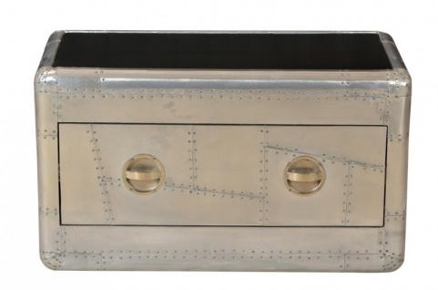 Casa Padrino Art Deco Designer Flieger Couchtisch Aluminium mit Glasplatte 90 x 45 x 50 cm - Vintage Look