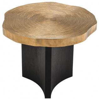 Casa Padrino Luxus Beistelltisch Messingfarben / Schwarz Ø 63, 5 x H. 50, 5 cm - Luxuriöser Beistelltisch mit Tischplatte im Baumscheiben Design - Vorschau 3