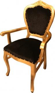 Casa Padrino Barock Luxus Esszimmer Stuhl mit Armlehnen Schwarz / Gold - Vorschau