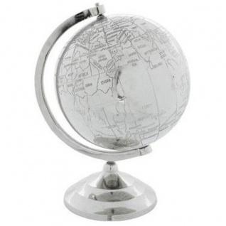 Casa Padrino Luxus Globus aus poliertem Aluminium Finish Silber Höhe: 39 cm, B 26 cm, T 21 cm - Deko Globus - Art Deco