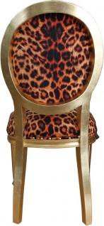 Casa Padrino Barock Luxus Esszimmer Stuhl Leopard / Gold - Designer Stuhl - Hotel & Restaurant Möbel - Luxus Qualität - Vorschau 3