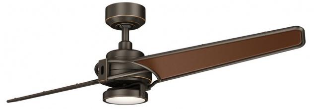 Casa Padrino Luxus Deckenventilator mit LED Beleuchtung und Fernbedienung Bronze / Braun 142 x H. 35 cm - Luxus Qualität