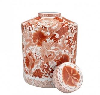 Casa Padrino Designer Keramik Vase mit Deckel Rot - Luxus Qualität - Vorschau 2