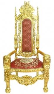 Casa Padrino Barock Thron Sessel Löwe Rot / Gold 70 x 60 x H. 180 cm - Prunkvoller Riesensessel - Königssessel - Hochzeitssessel - Barockmöbel