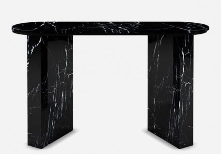 Casa Padrino Luxus Marmor Konsole Schwarz 150 x 45 x H. 90 cm - Moderner Konsolentisch aus hochwertigem Marmor - Luxus Möbel