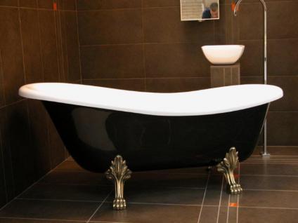 Freistehende Luxus Badewanne Jugendstil Roma Schwarz/Weiß/Altgold 1470mm - Barock Antik Badezimmer - Vorschau 1