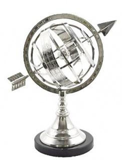 Casa Padrino Luxus Armillary Nickel Finish Silber auf Marmorsockel - Luxus Kollektion - Art Deco - Globus Spärisch - Armillarsphäre