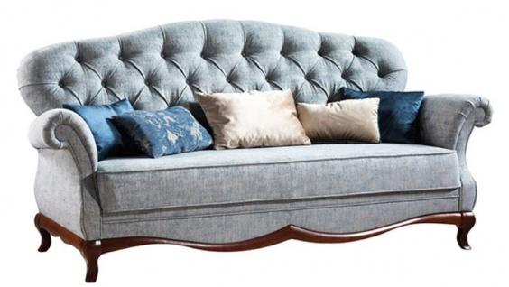 Casa Padrino Luxus Art Deco Chesterfield Wohnzimmer Sofa Vintage Blau / Dunkelbraun 206 x 90 x H. 98 cm - Wohnzimmermöbel