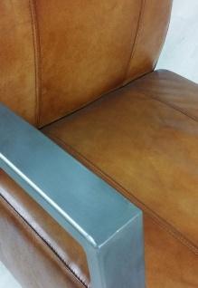 Casa Padrino Vintage Industrial Echtleder Lounge Sessel - ALLE FARBEN - Luxus Wohnzimmer Sessel Industrie Design Möbel Büffelleder - Vorschau 4